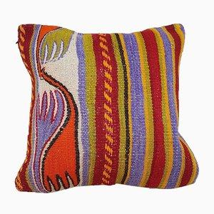 Kelim Kissenbezug aus Teppichstoff mit aztekischem Motiv