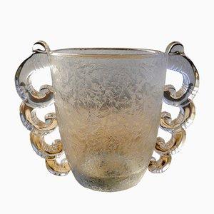 Vaso Art Deco in vetro smerigliato, anni '30