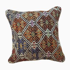 Kelim Kissenbezug aus Teppichstoff mit Diamanten-Motiv von Vintage Pillow Store Contemporary