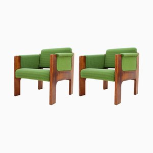 Mid-Century Green Armchairs, 1970s, Set of 4