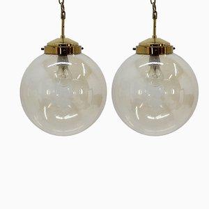 Lámparas colgantes Mid-Century de latón, años 70. Juego de 6