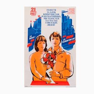 Affiche de Propagande Communiste de l'Union Soviétique Enfants et Fleurs, 1987
