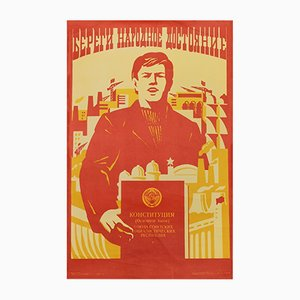 Soviet Union Communist Worker Constitution Propaganda Poster, 1981