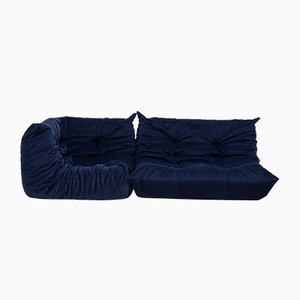 Navy Blue Togo Modular Sofa Set by Michel Ducaroy for Ligne Roset, 1970s