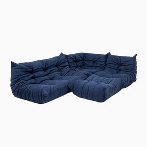 Togo Blue Modular Sofa Set by Michel Ducaroy for Ligne Roset, 1970s