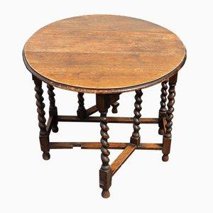 Gateleg Tisch aus Eiche mit gedrechselten Beinen, 1930er