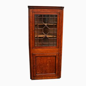 Astragal Glazed Oak Corner Cabinet, 1850s