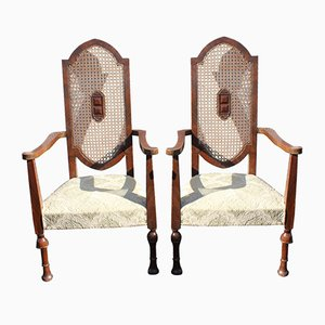 Mahogany Armchairs with Cane Backs, 1920s, Set of 2