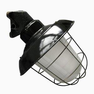 Schwarz emaillierte industrielle Vintage Wandlampe aus Eisen