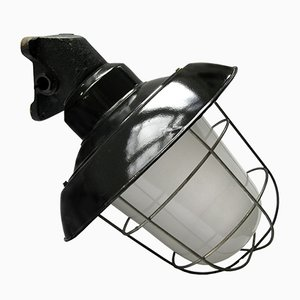 Vintage Industrial Black Enamel Iron Wall Lamp