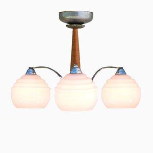 Art Deco Deckenlampe mit pinken Leuchtkugeln aus Opalglas, 1930er