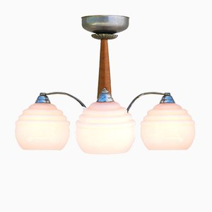 Art Deco Pink Opaline Globe Ceiling Light, 1930s