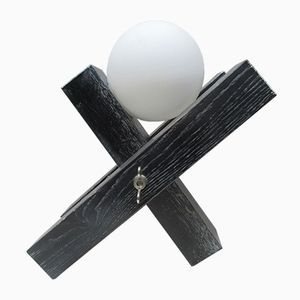 Black Oak Table Lamp with a Frosted White Globe by François Arnal, 1992