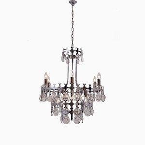 Lámpara de araña Ovali de metal cromado y cristal con 12 puntos de luz de Gaetano Sciolari, años 70