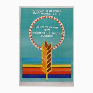 Póster de propaganda comunista de la agricultura, 1989