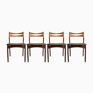 Dänische Vintage Esszimmerstühle aus massivem Teak, 4er Set