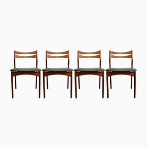 Vintage Danish Solid Teak Dining Chairs, Set of 4