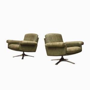 Olive Green DS31 Swivel Chairs from de Sede, 1970s, Set of 2