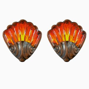 Vintage German Shell-Shaped Sconces from Goebel, Set of 2
