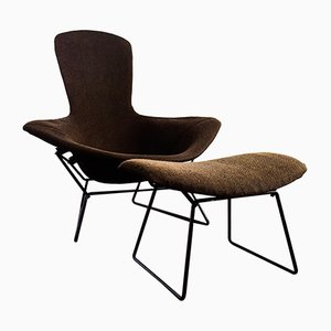 Poltrona Bird e ottomana di Harry Bertoia per Knoll International, 1977