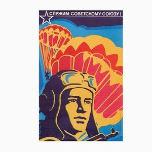 Politisches UDSSR Militär Propaganda-Plakat, 1976