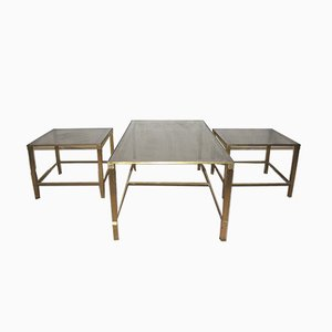 Vintage Bronze and Smoked Glass Nesting Tables