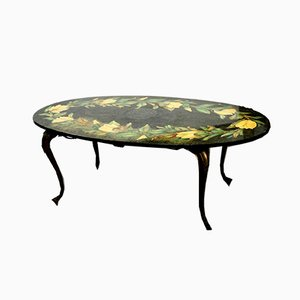 Marble & Bronze Coffee Table with Floral Motifs, 1950s