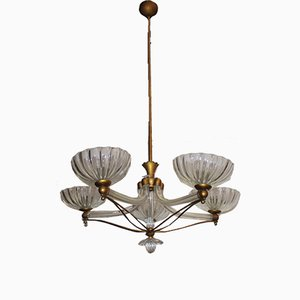 Murano Glass and Brass Chandelier by Ercole Barovier for Barovier & Toso, 1950s
