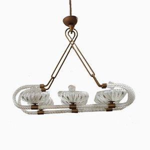 Lámpara de araña de cristal de Murano y latón de Ercole Barovier para Barovier & Toso, años 50