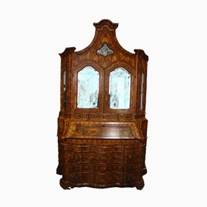 Antique Venetian Walnut Veneered Double Cabinet