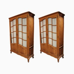Vintage French Walnut Vitrines, Set of 2