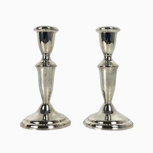 Mid-Century Kerzenständer aus Silber, 2er Set