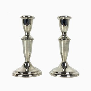 Mid-Century Silver Candlesticks, Set of 2