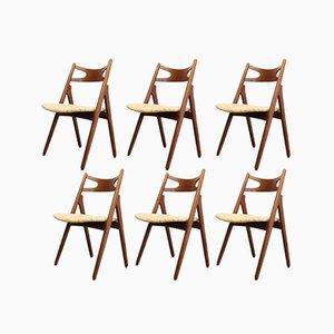 Sedie da pranzo CH29 Sawbuck di Hans J. Wegner per Carl Hansen & Søn, anni '60, set di 6