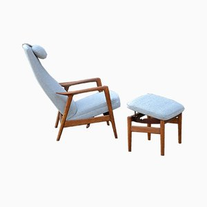 Reclining Armchair & Ottoman Set by Alf Svensson for Dux, 1960s