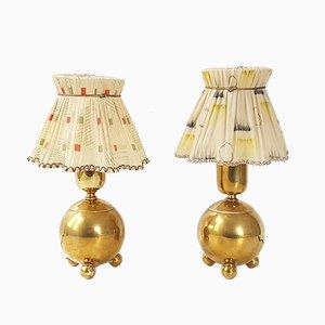 Französische Mid-Century Tischlampen aus vergoldetem Messing, 1950er, 2er Set