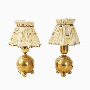 Mid-Century French Gilded Brass Table Lamps, 1950s, Set of 2
