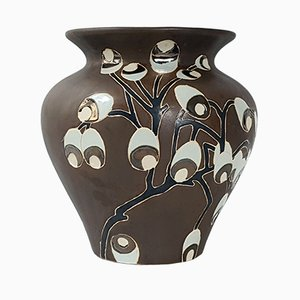 Große französische Art Deco Keramikvase, 1920er