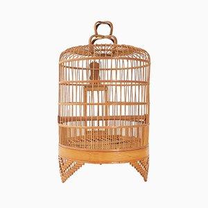 Jaula para pájaros francesa Mid-Century de madera, años 50