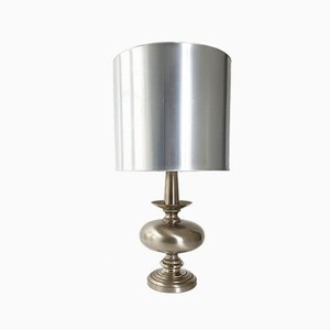 Vintage French Brushed Steel Table Lamp, 1970s