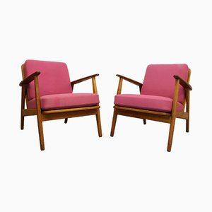 Mid-Century Danish Oak Lounge Chairs, Set of 2