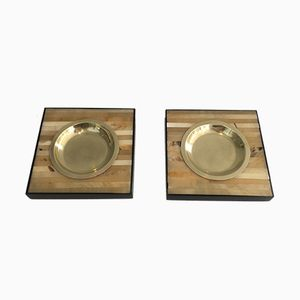Wood and Brass Ashtrays, 1970s, Set of 2