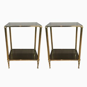 Neoclassical Brass Side Tables, 1960s, Set of 2