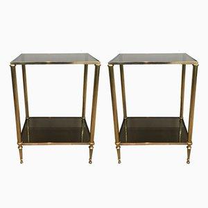 Tables d'Appoint Néoclassiques en Laiton, 1960s, Set de 2