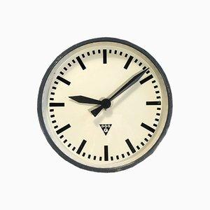 Horloge Murale Industrielle Gris Foncé de Pragotron, 1960s