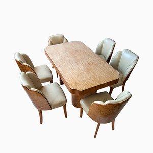 Juego de mesa y seis sillas Art Déco de Harry & Lou Epstein, años 30