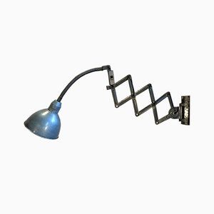 Industrial Blue Scissor Lamp, 1960s