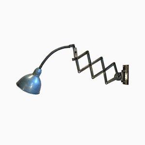 Industrial Blue Scissor Lamp, 1960s