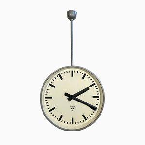 Reloj de dos caras de fábrica o ferrocarril industrial grande de Pragotron, años 60