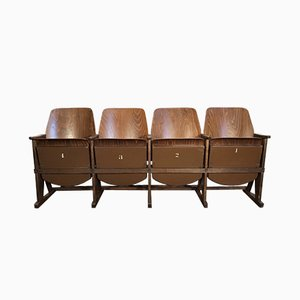 Vintage Four-Seat Cinema Bench from TON, 1960s